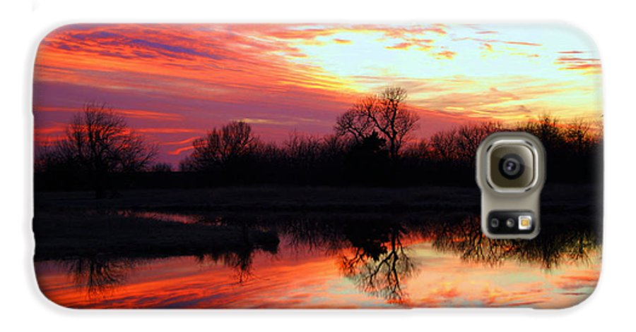Clouds Galaxy S6 Case featuring the photograph Calming Sunset by Larry Keahey