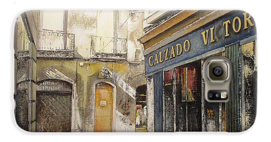 Calzados Galaxy S6 Case featuring the painting Calzados Victoria-leon by Tomas Castano