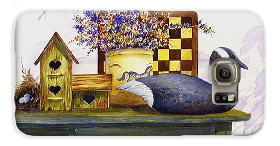 Canada Goose;birdhouse;bird Nest;crock;checkerboard;still Life;country Still Life; Galaxy S6 Case featuring the painting Canada And Checkerboard by Lois Mountz