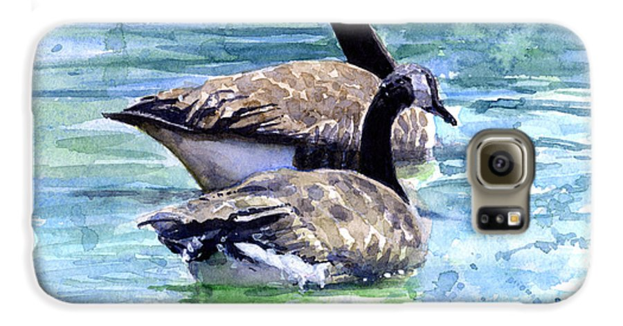 Canada Galaxy S6 Case featuring the painting Canada Geese by John D Benson