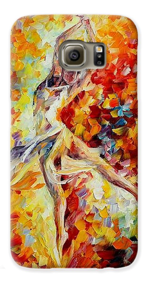 Danse Galaxy S6 Case featuring the painting Candle Fire by Leonid Afremov
