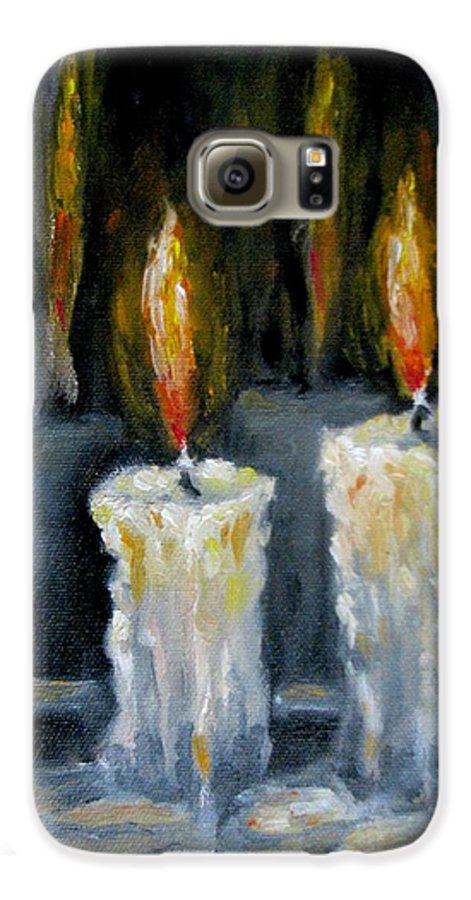 Candles Galaxy S6 Case featuring the painting Candles Oil Painting by Natalja Picugina
