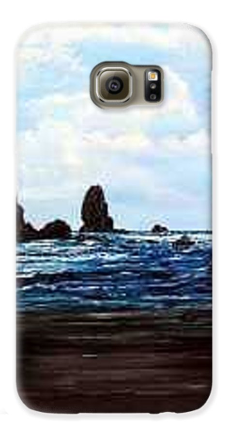 This Is Cannon Beach Oregon. This Painting Is Framed In A Lovely Gold Tone Frame. Galaxy S6 Case featuring the painting Cannon Beach by Darla Boljat