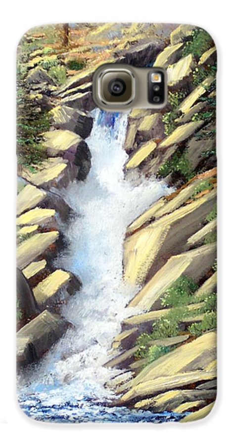 Landscape Galaxy S6 Case featuring the painting Canyon Falls by Frank Wilson
