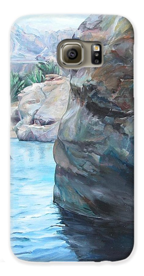 Landscape Galaxy S6 Case featuring the painting Canyon by Muriel Dolemieux