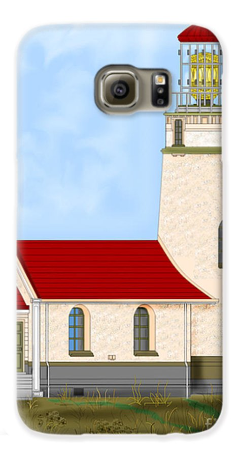 Lighthouse Galaxy S6 Case featuring the painting Cape Blanco Oregon by Anne Norskog
