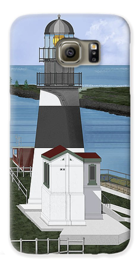 Lighthouse Galaxy S6 Case featuring the painting Cape Disappointment At Fort Canby Washington by Anne Norskog