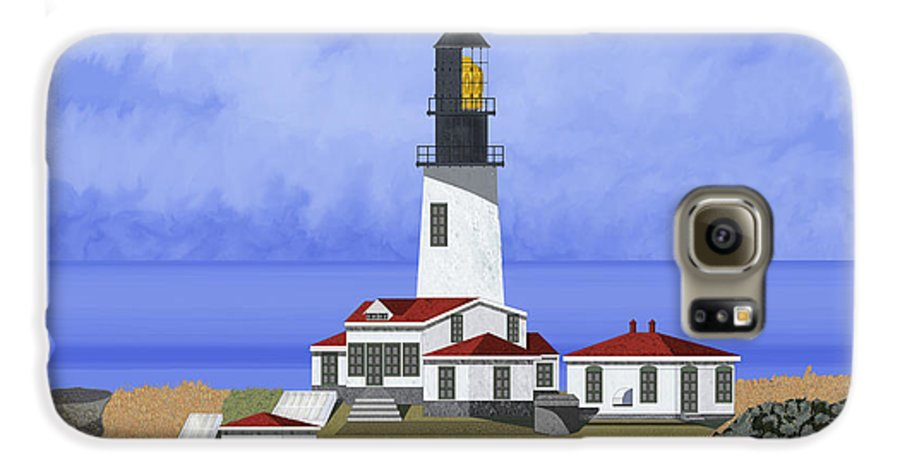 Seascape Galaxy S6 Case featuring the painting Cape Flattery Lighthouse On Tatoosh Island by Anne Norskog