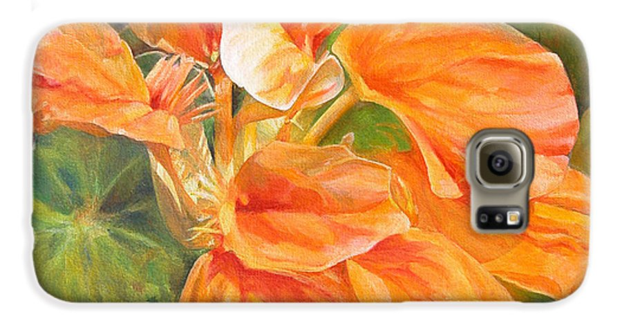 Floral Painting Galaxy S6 Case featuring the painting Capucine by Muriel Dolemieux