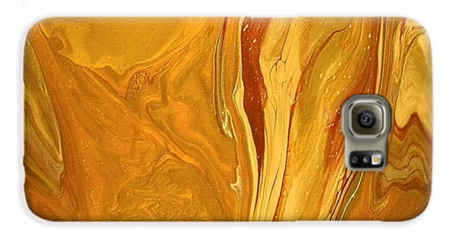 Abstract Galaxy S6 Case featuring the painting Caramel Delight by Patrick Mock