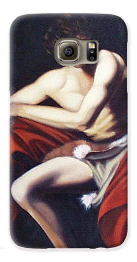 Caravaggio Galaxy S6 Case featuring the painting Caravaggio's John The Baptist Study by Toni Berry