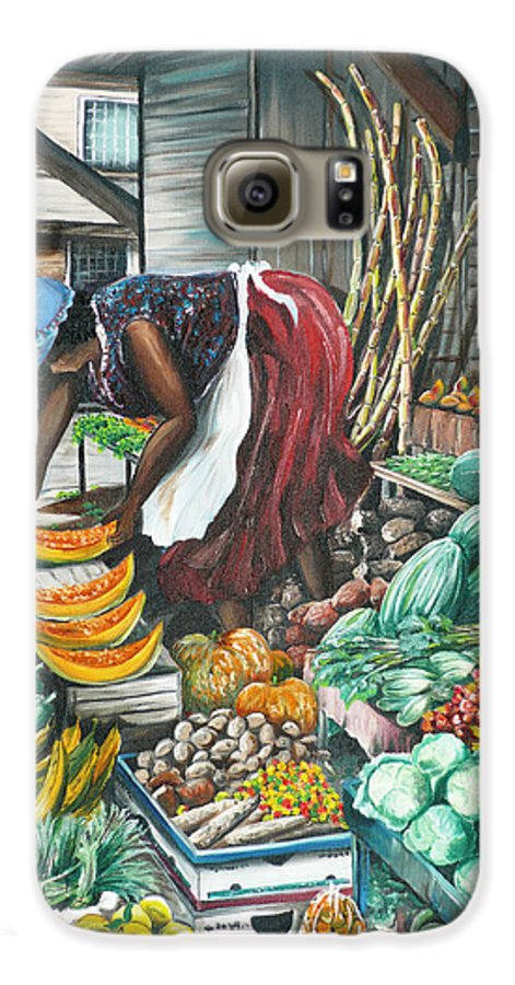 Caribbean Painting Market Vendor Painting Caribbean Market Painting Fruit Painting Vegetable Painting Woman Painting Tropical Painting City Scape Trinidad And Tobago Painting Typical Roadside Market Vendor In Trinidad Galaxy S6 Case featuring the painting Caribbean Market Day by Karin Dawn Kelshall- Best