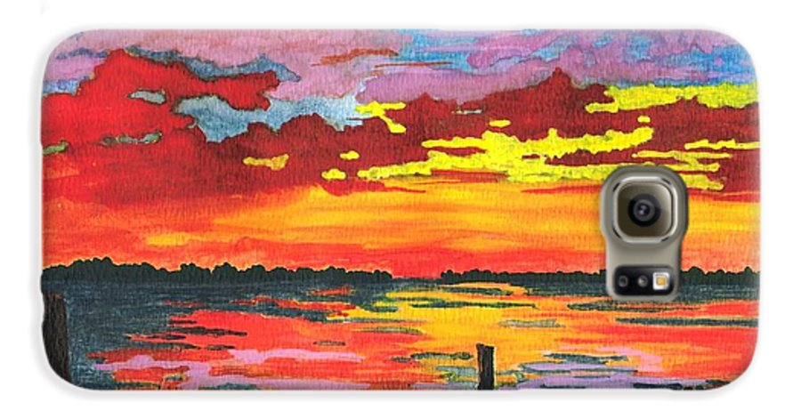 Original Painting Galaxy S6 Case featuring the painting Carolina Sunset by Patricia Griffin Brett