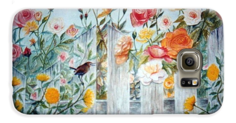 Roses; Flowers; Sc Wren Galaxy S6 Case featuring the painting Carolina Wren And Roses by Ben Kiger