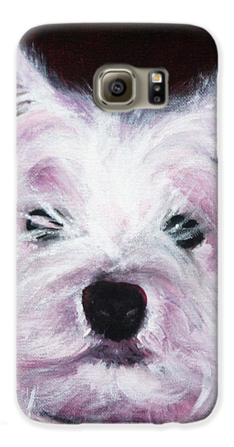 Dog Galaxy S6 Case featuring the painting Cassie by Fiona Jack
