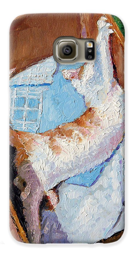 Kitten Galaxy S6 Case featuring the painting Cat In A Box by John Lautermilch