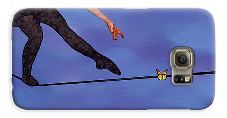 Surreal Galaxy S6 Case featuring the painting Catching Butterflies by Steve Karol