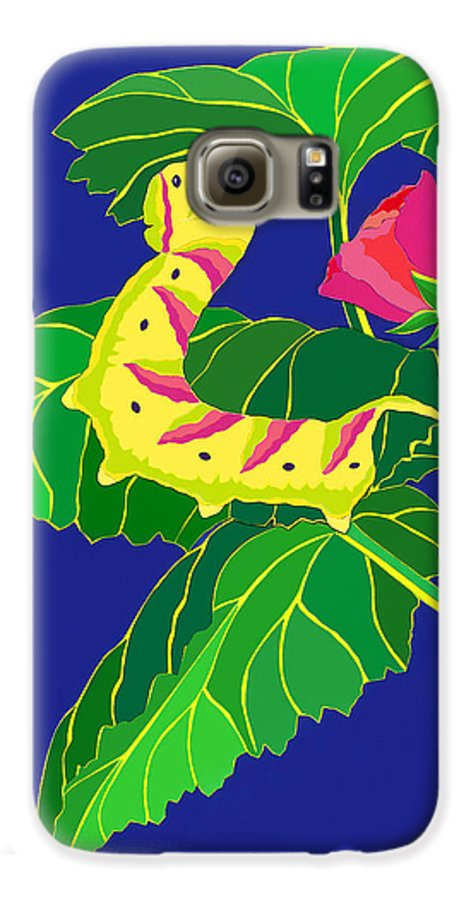 Nature Galaxy S6 Case featuring the drawing Caterpillar by Lucyna A M Green