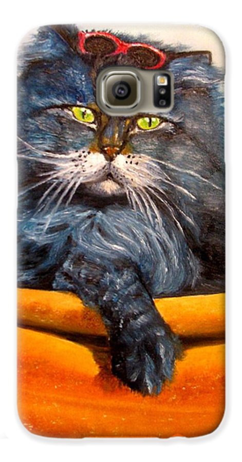 Cat Galaxy S6 Case featuring the painting Cat.go To Swim.original Oil Painting by Natalja Picugina