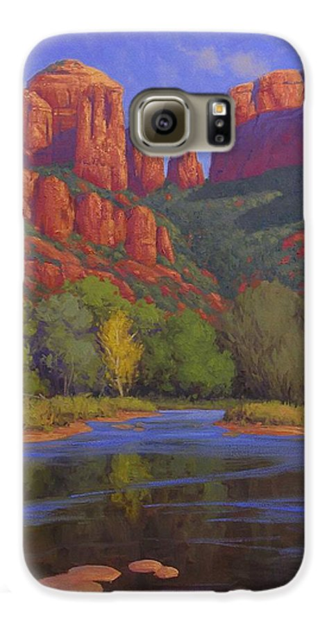 Sedona Galaxy S6 Case featuring the painting Cathedral Morning by Cody DeLong