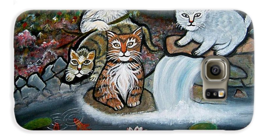 Acrylic Art Landscape Cats Animals Figurative Waterfall Fish Trees Galaxy S6 Case featuring the painting Cats In The Wild by Manjiri Kanvinde