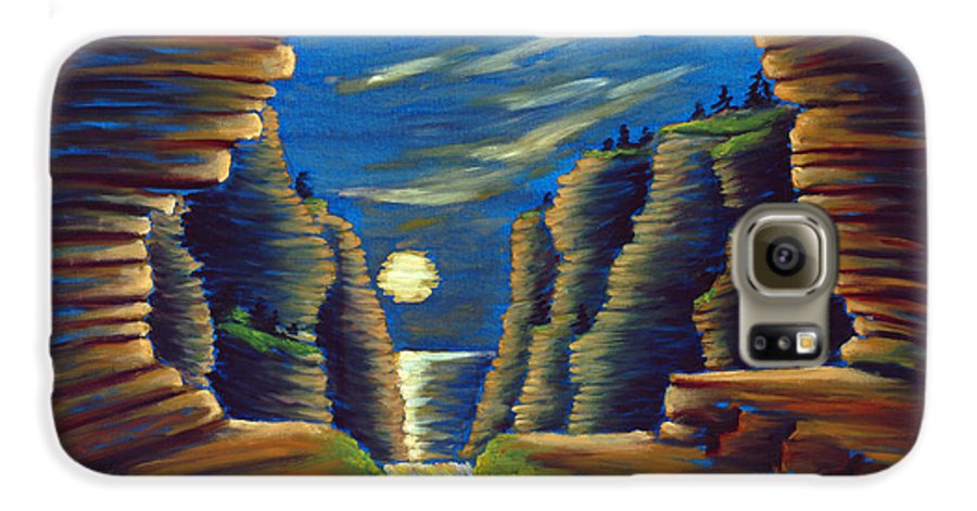 Cave Galaxy S6 Case featuring the painting Cave With Cliffs by Jennifer McDuffie