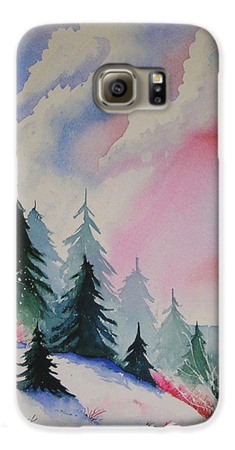 Snow Galaxy S6 Case featuring the painting Cedar Fork Snow by Karen Stark