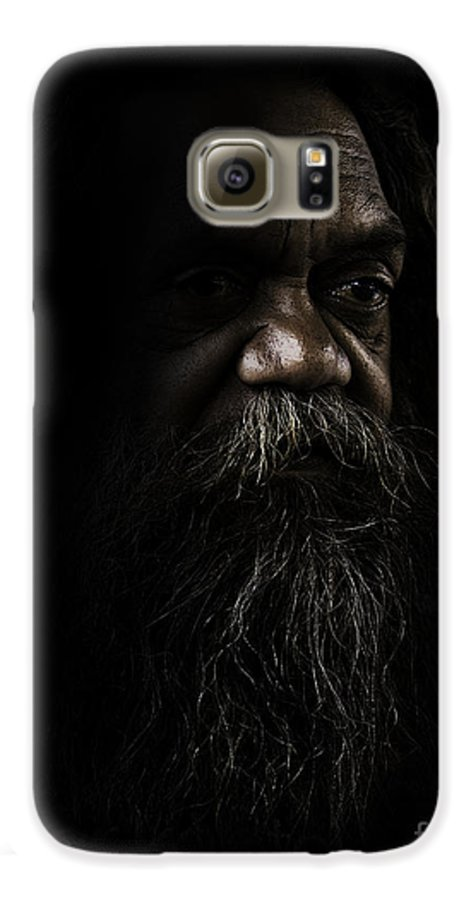 Fullblood Aborigine Galaxy S6 Case featuring the photograph Cedric In Shadows by Sheila Smart Fine Art Photography