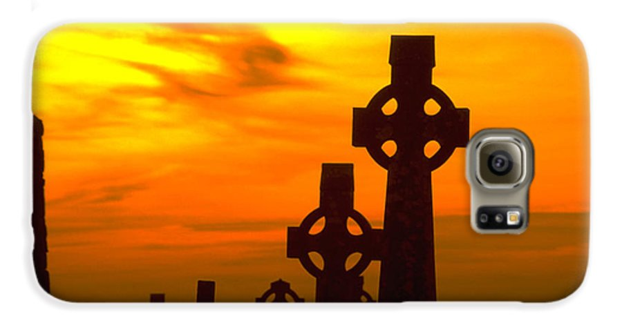 Christian Galaxy S6 Case featuring the photograph Celtic Crosses In Graveyard by Carl Purcell