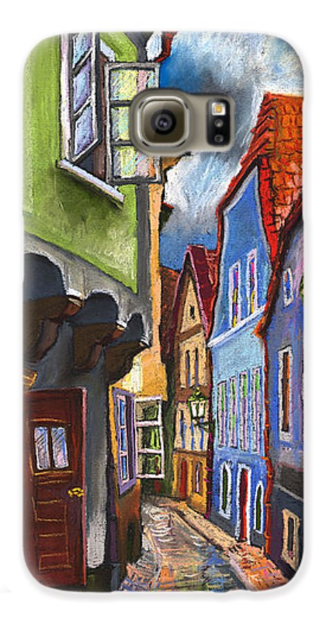 Pastel Chesky Krumlov Old Street Architectur Galaxy S6 Case featuring the painting Cesky Krumlov Old Street 1 by Yuriy Shevchuk