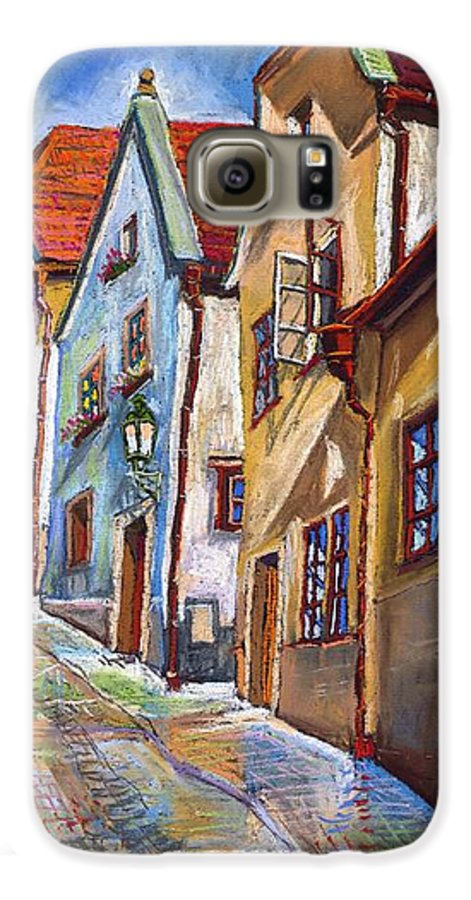 Pastel Chesky Krumlov Old Street Architectur Galaxy S6 Case featuring the painting Cesky Krumlov Old Street 2 by Yuriy Shevchuk