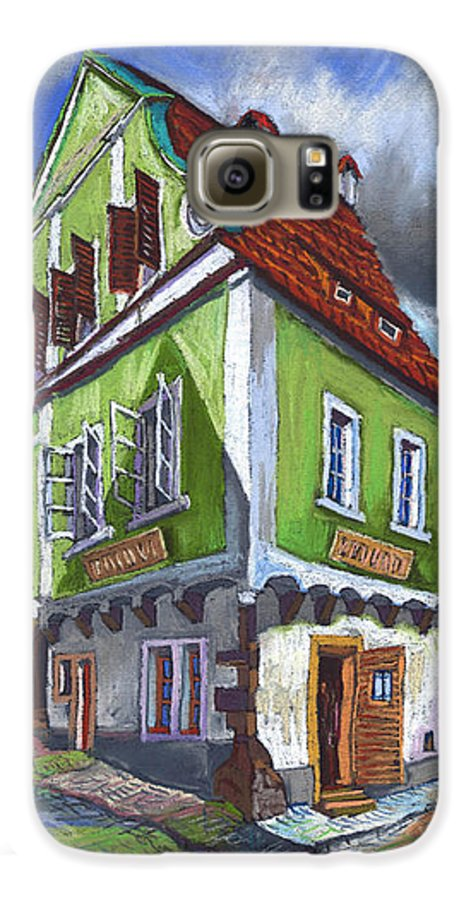 Pastel Chesky Krumlov Old Street Cityscape Realism Architectur Galaxy S6 Case featuring the painting Cesky Krumlov Old Street 3 by Yuriy Shevchuk
