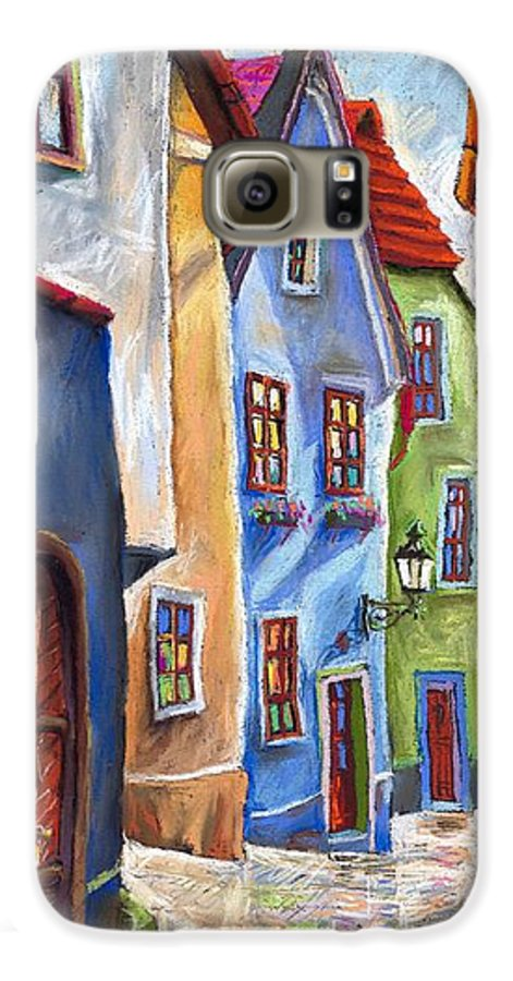 Cityscape Galaxy S6 Case featuring the painting Cesky Krumlov Old Street by Yuriy Shevchuk