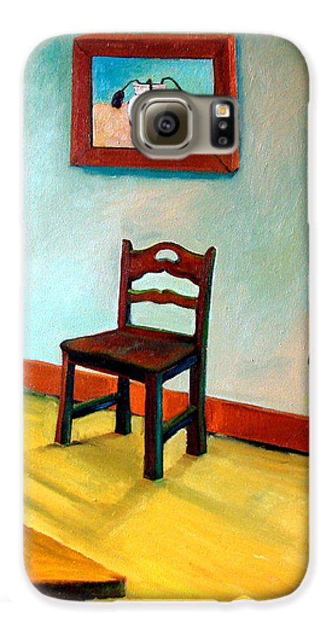 Apartment Galaxy S6 Case featuring the painting Chair And Pears Interior by Michelle Calkins