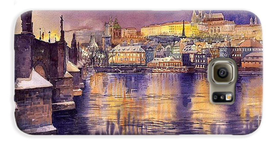Cityscape Galaxy S6 Case featuring the painting Charles Bridge And Prague Castle With The Vltava River by Yuriy Shevchuk