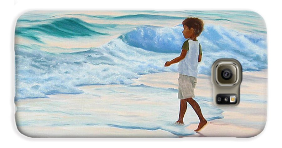 Child Galaxy S6 Case featuring the painting Chasing The Waves by Lea Novak