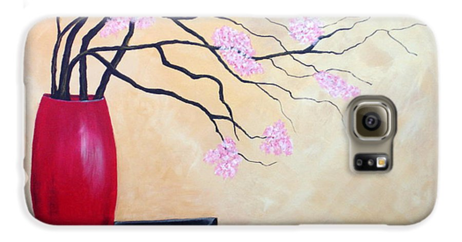 Oriental Galaxy S6 Case featuring the painting Cherry Blossoms by Susan Kubes