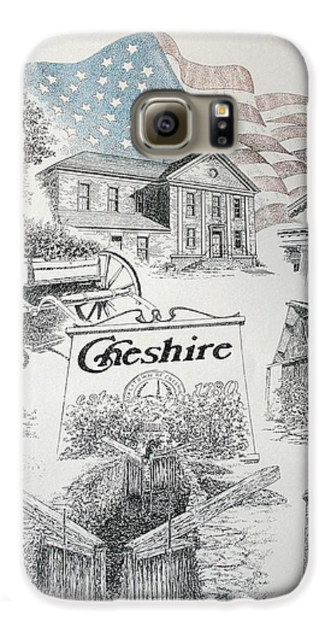 Connecticut Cheshire Ct Historical Poster Architecture Buildings New England Galaxy S6 Case featuring the drawing Cheshire Historical by Tony Ruggiero
