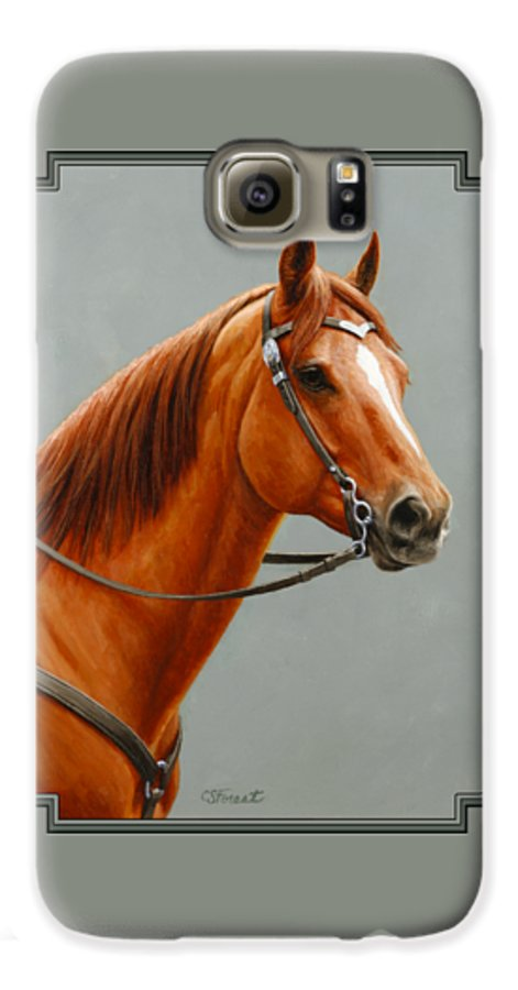 Horse Galaxy S6 Case featuring the painting Chestnut Dun Horse Painting by Crista Forest