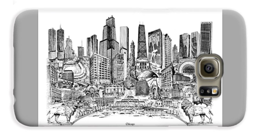 City Drawing Galaxy S6 Case featuring the drawing Chicago by Dennis Bivens