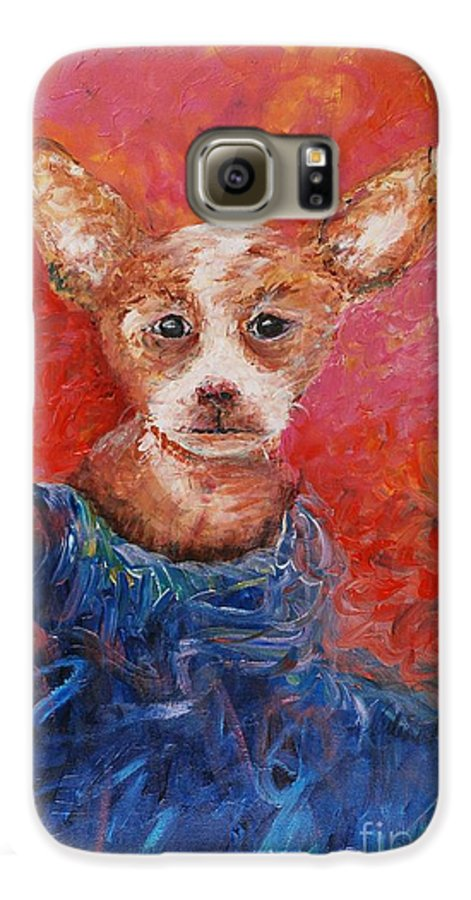 Dog Galaxy S6 Case featuring the painting Chihuahua Blues by Nadine Rippelmeyer
