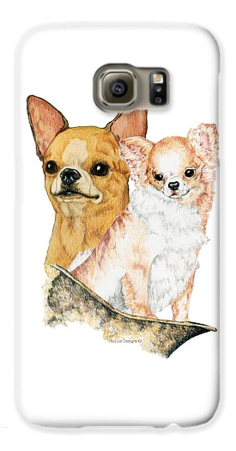 Chihuahua Galaxy S6 Case featuring the drawing Chihuahuas by Kathleen Sepulveda