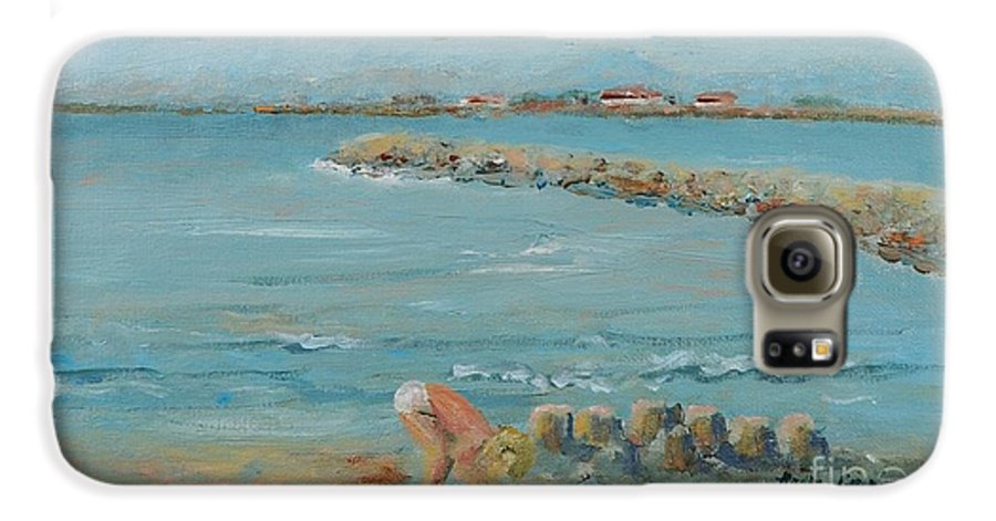 Beach Galaxy S6 Case featuring the painting Child Playing At Provence Beach by Nadine Rippelmeyer