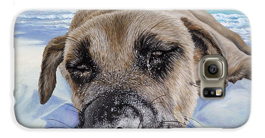 Pet Portrait Galaxy S6 Case featuring the painting Chillin In Briland by Danielle Perry