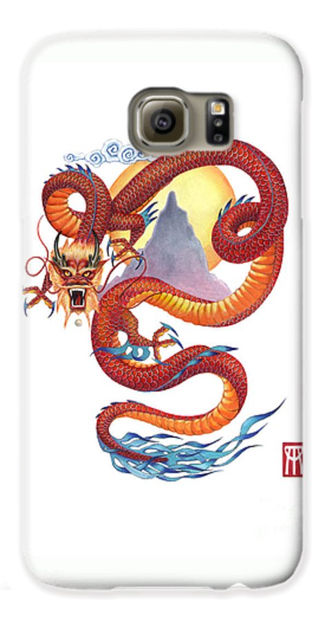 Dragon Galaxy S6 Case featuring the painting Chinese Red Dragon by Melissa A Benson