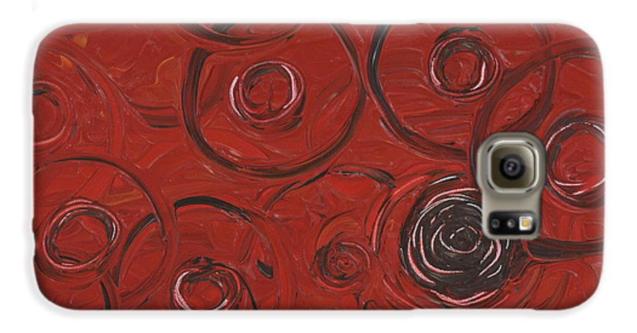 Red Galaxy S6 Case featuring the painting Choices In Red by Nadine Rippelmeyer
