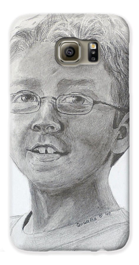 Chris Galaxy S6 Case featuring the drawing Chris Dovick by Quwatha Valentine