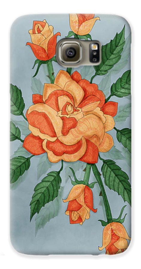 Floral Galaxy S6 Case featuring the painting Christ And The Disciples Roses by Anne Norskog