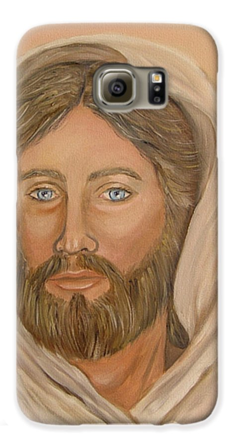Christ Galaxy S6 Case featuring the painting Christ by Quwatha Valentine
