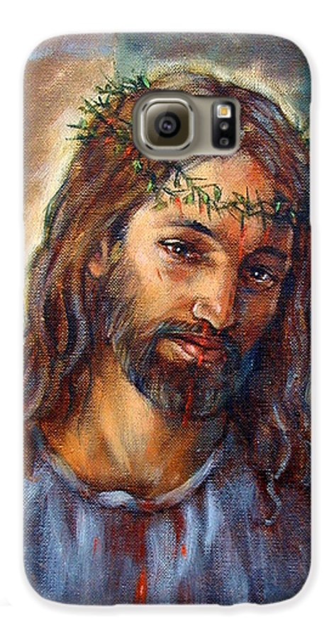 Christ Galaxy S6 Case featuring the painting Christ With Thorns by John Lautermilch